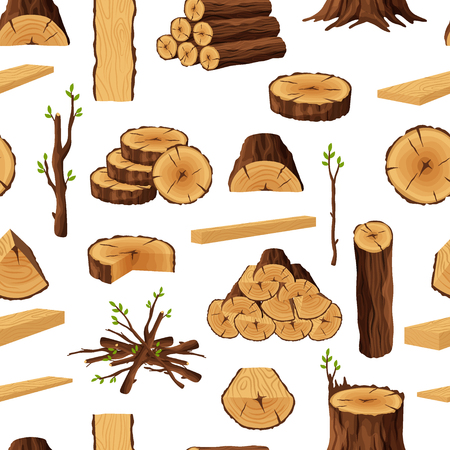 Seamless pattern of firewood materials, rerepeating background with wooden elements. Wood logs stubs tree trunk branches boards stump and planks wooden backdrop - flat vector illustration.