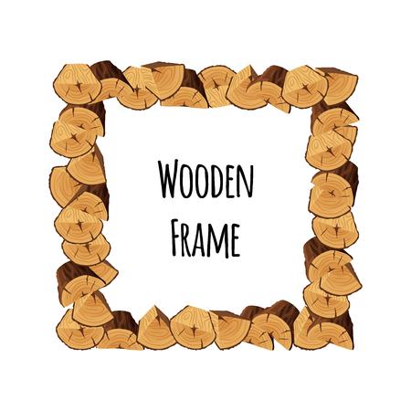 Cadre en bois d'arbres en forme de triangle et de demi-cercle isolés sur fond blanc. Bordure carrée à colombages avec place pour le texte - illustration vectorielle plane Vecteurs