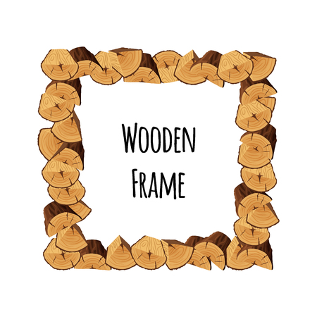 Wooden frame of tree triangle-shaped and semi-circle logs isolated on white background. Square timbered border with place for text - flat vector illustration