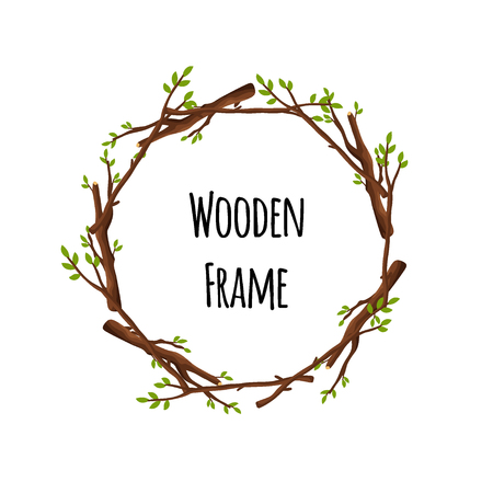 Round wooden frame of branches with green leaves isolated on white background. Circle timbered border with place for text - flat vector illustration.