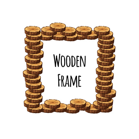 Square wooden frame of pile tree cross section logs isolated on white background. Foursquare timbered border with place for text - flat vector illustration Illustration