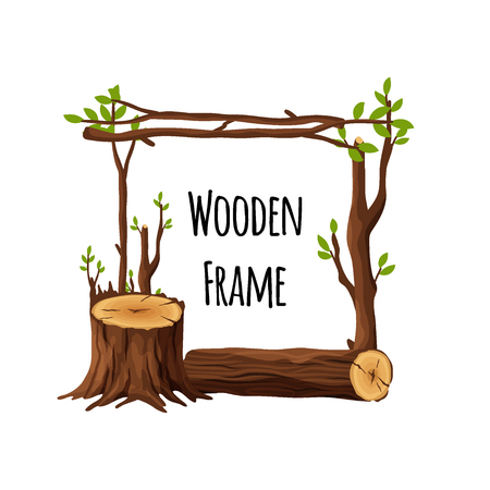 Wooden frames set isolated on white background. Square and round timbered borders collection with branches stump wood logs stubs tree trunk - cartoon vector illustration. Vettoriali