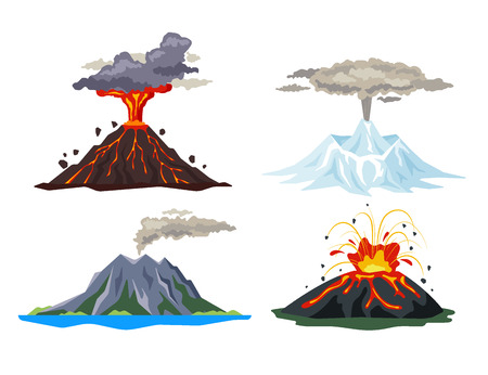 Volcano eruption set with magma, smoke, ashes isolated on white background. Volcanic activity hot lava eruption, sleeping and erupting volcanoes - flat vector illustration.