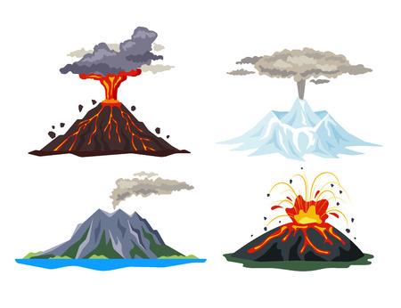 Volcano eruption set with magma, smoke, ashes isolated on white background. Volcanic activity hot lava eruption, sleeping and erupting volcanoes - flat vector illustration.