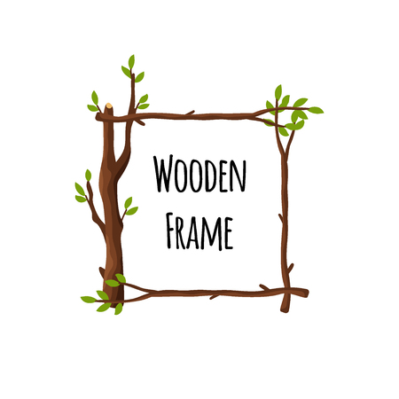 Square wooden frame of branches with green leaves isolated on white background, timbered border with place for text - flat vector illustration.