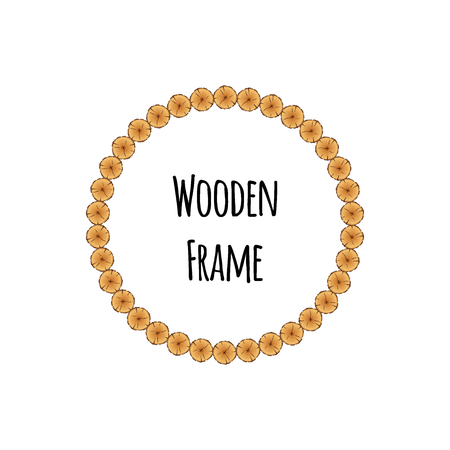 Circle wooden frame of tree circle logs isolated on white background. Round timbered border with place for text - flat vector illustration.