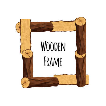 Wooden frame of tree logs isolated on white background. Square timbered border with place for text - flat vector illustration. Vettoriali