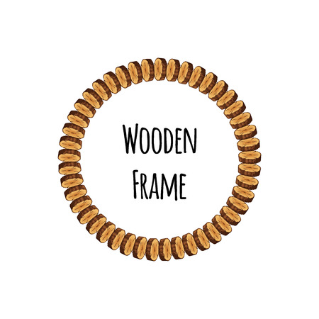 Circle wooden frame of tree cross section logs isolated on white background. Round timbered border with place for text - flat vector illustration. Zdjęcie Seryjne - 125354848