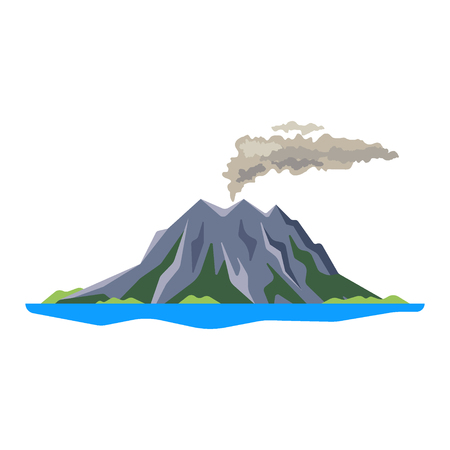 Volcano eruption with smoke, ashes isolated on white background. Volcanic activity, sleeping volcano - flat vector illustration
