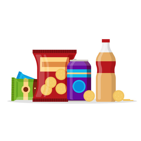Snack product set, fast food snacks, drinks, nuts, cracker, juice isolated on white background. Flat illustration in vector. Vettoriali