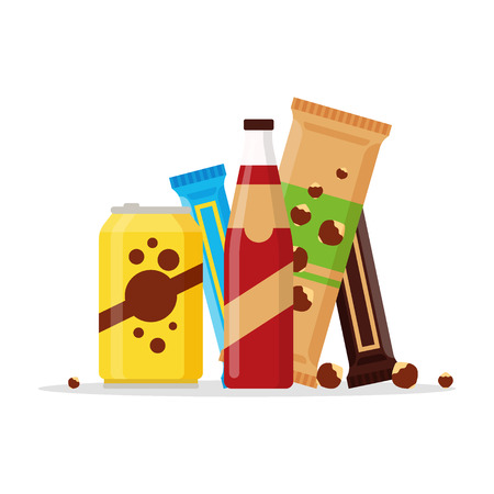 Snack product set, fast food snacks, drinks, nuts, juice, chocolate isolated on white background. Flat illustration in vector. 向量圖像