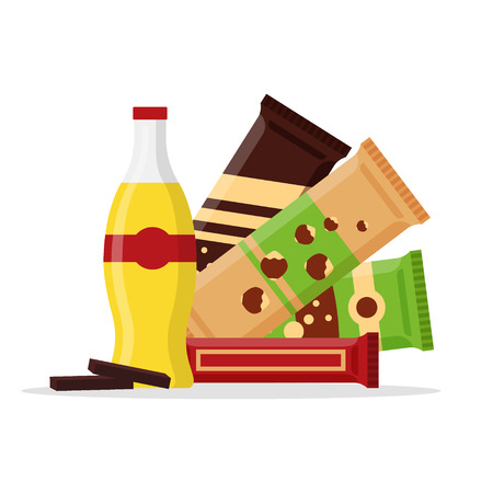 Snack product set, fast food snacks, drinks, nuts, juice, chocolate isolated on white background. Flat illustration in vector. Vettoriali