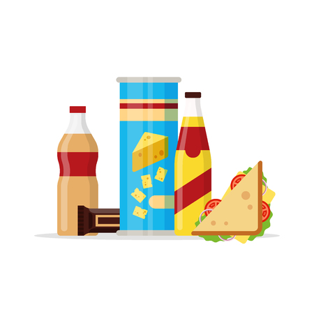 Snack product set, fast food snacks, drinks, chips, juice, sandwich, chocolate isolated on white background. Flat illustration in vector.