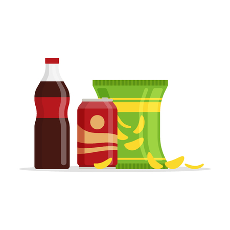 Snack product set, fast food snacks, drinks, chips, juice isolated on white background. Flat illustration in vector. Illustration