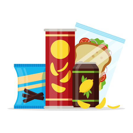 Snack product set, fast food snacks, drinks, chips, juice, sandwich isolated on white background. Flat illustration in vector.