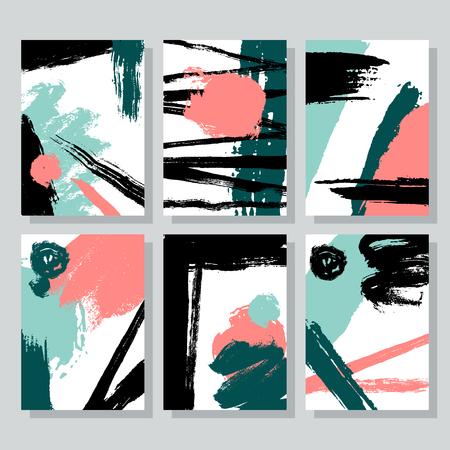 Set of universal cards with brush strokes, ink drawn scribbles, hand drawn textures. Creative cards for invitation, flyer, tag, party, banner, poster, book cover, company name vector illustration.