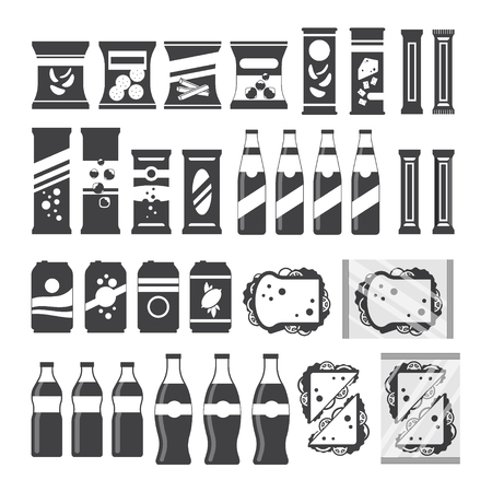 Snack product set for vending machine in monochrome color. Fast food snacks drinks nuts chips cracker juice sandwich for vendor machine bar isolated on white background. Flat illustration in vector