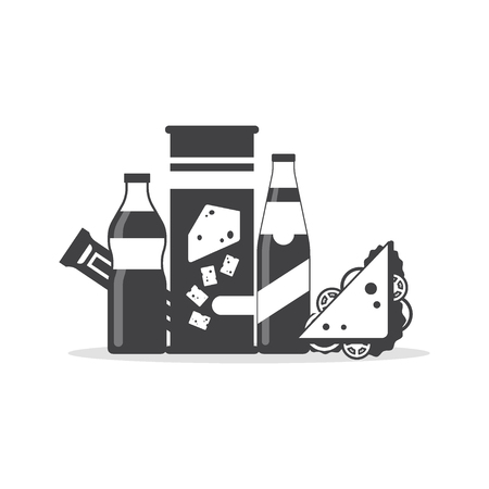 Snack product set in monochrome color, fast food snacks, drinks, chips, juice, sandwich, chocolate isolated on white background. Flat illustration in vector Ilustração