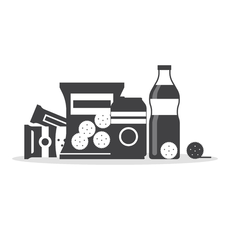Snack product set in monochrome color, fast food snacks, drinks, nuts, cracker, juice isolated on white background. Flat illustration in vector