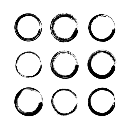 Set of black grunge round shapes isolated on white background. Circle hand drawn frames, logo ink brush strokes. Collection of coffee ring stains or stamps, banners, labels - vector illustration.