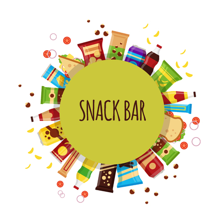 Snack product with circle. Fast food snacks, drinks, nuts, chips, cracker, juice, sandwich for snack bar isolated on white background. Flat illustration in vector. Vettoriali