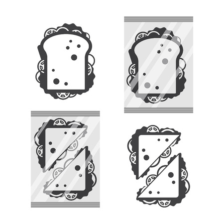 Sandwiche top view in monochrome color isolated on white background, fast food snack for breakfast and lunch, flat vector illustration