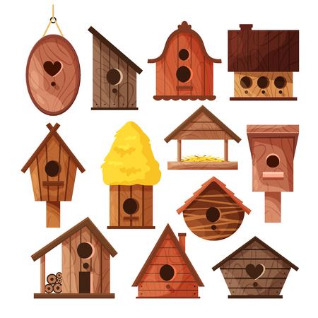 Set of different wooden handmade bird houses isolated on white background. Cartoon homemade nesting boxes for birds, ecology birdboxes vector illustration Ilustração