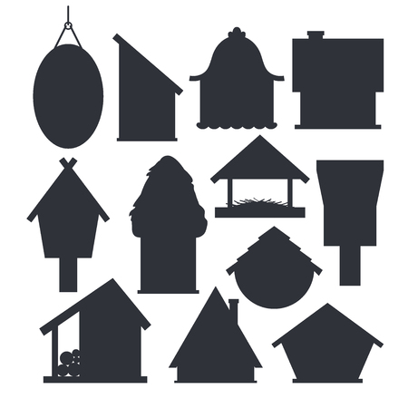Set of different bird houses in monochrome color isolated on white background. Cartoon homemade nesting boxes for birds, ecology birdboxes vector illustration