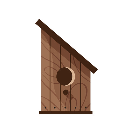 Wooden handmade bird house isolated on white background. Cartoon homemade nesting box for birds, ecology birdbox vector illustration