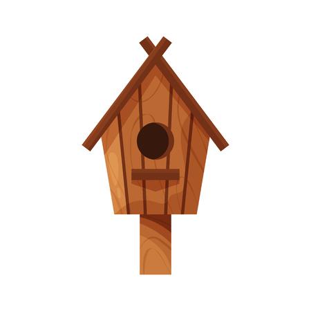 Wooden handmade bird house isolated on white background. Cartoon homemade nesting box with a pole, ecology birdbox for birds vector illustration