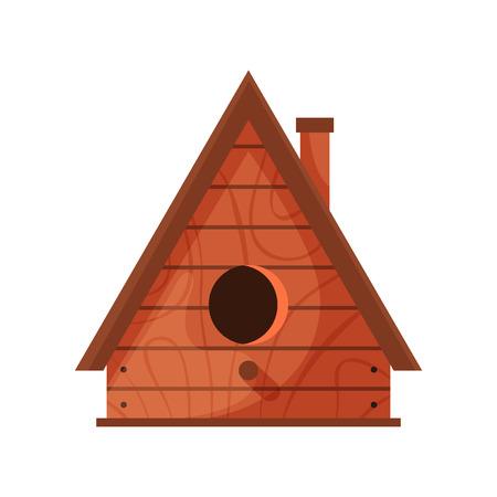 Wooden handmade bird house isolated on white background. Cartoon homemade nesting box for birds, ecology birdbox vector illustration Ilustração