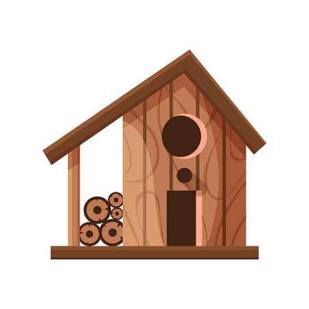 Wooden handmade bird house isolated on white background. Cartoon homemade nesting box for birds, ecology birdbox vector illustration Ilustracja