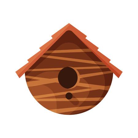 Wooden handmade bird house isolated on white background. Cartoon homemade nesting box for birds, ecology rounded birdbox vector illustration Ilustração