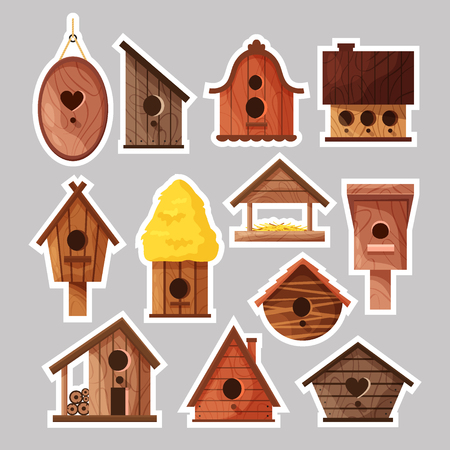 Set of birdboxes stickers. Different wooden handmade bird houses, cartoon homemade nesting boxes for birds, vector illustration.