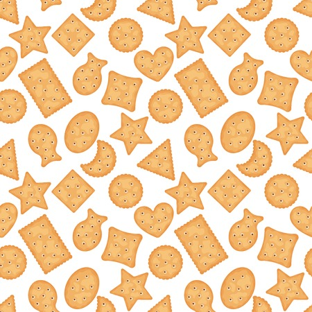 Seamless pattern of cracker chips different shapes on white background. Biscuit cookies for breakfast, tasty snack, yummy crackers - vector illustration Ilustração