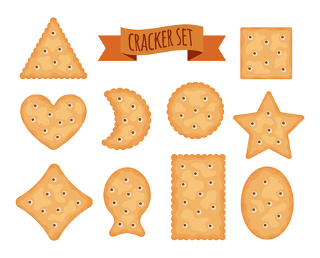 Set of cracker chips different shapes isolated on white background. Biscuit cookies for breakfast, tasty snack, yummy crackers - vector illustration