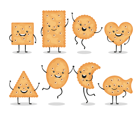 Cute smiling cracker chips different shapes isolated on white background. Happy biscuit cookies characters, doodle snack - vector illustration Zdjęcie Seryjne - 123983756