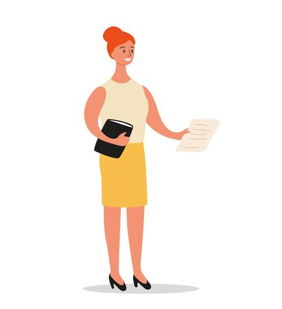 Businesswoman is standing with a folder and documents in hand. Office worker or entrepreneur character design isolated on white background, vector cartoon illustration.