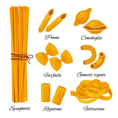 Pasta cartoon set isolated on white background. Different types of italian noodles with names, spaghetti, penne, conchiglie, farfalle, gomiti rigati, rigatoni, fettuccine vector collection.