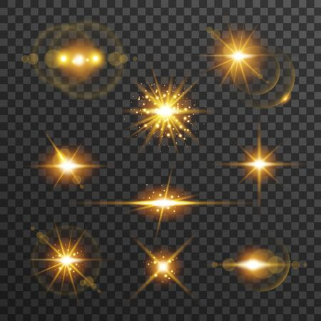 Light flare set in golden color isolated on transparent background. Sun rays, glowing stars, sparkles with glow effect, vector illustration