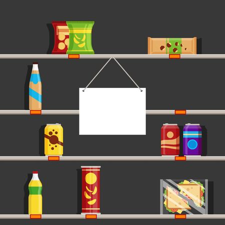 Empty shelves in supermarket during the Coronavirus pandemic of 2020. Store sign with place for text, vector illustration Vetores