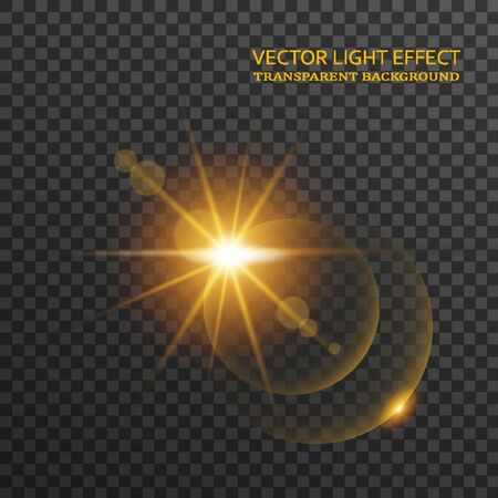 Light flare in golden color isolated on transparent background. Sun rays, glowing stars, sparkles with glow effect, vector illustration Vettoriali