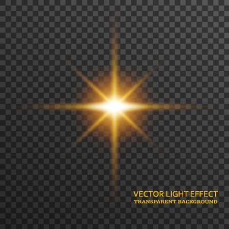 Light flare in golden color isolated on transparent