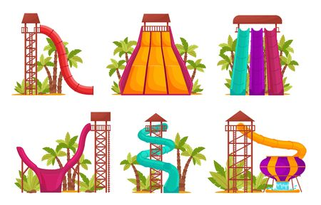 Water park set with colored waterslides and tubes for kids activity. Summer attractions in an aquapark for relaxation and fun, elements isolated on white background, vector illustration.