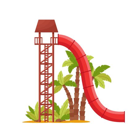 Water park with colored waterslide, red tube for kids activity. Summer attraction in an aquapark for relaxation and fun, isolated on white background, vector illustration.