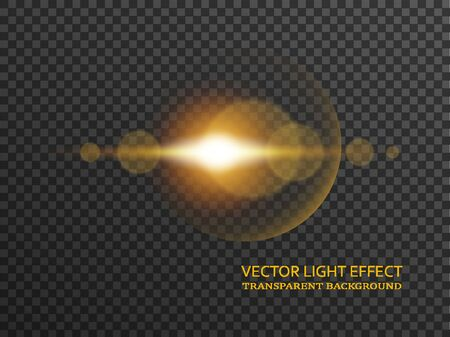 Light flare in golden color isolated on transparent background. Sun rays, glowing stars, sparkles with glow effect, vector illustration.