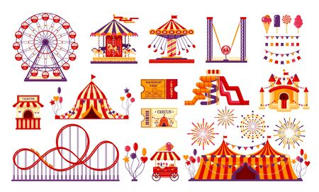 Circus carnival elements set isolated on white background. Amusement park collection with fun fair, carousel, ferris wheel, tent, roller coaster, baloons, tickets. Vector illustration. Vettoriali