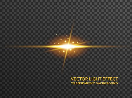 Light flare in golden color, sun rays, glowing star isolated on transparent background. Sparkles with glow effect, vector illustration.