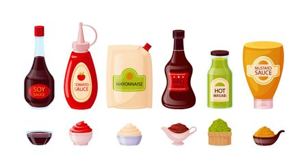 Sauce set with ketchup, soy, mayonnaise, mustard, bbq, wasabi in bowls. Sauce bottles of glass, plastic, wood isolated on white background. Fast food packaging template, vector illustration.