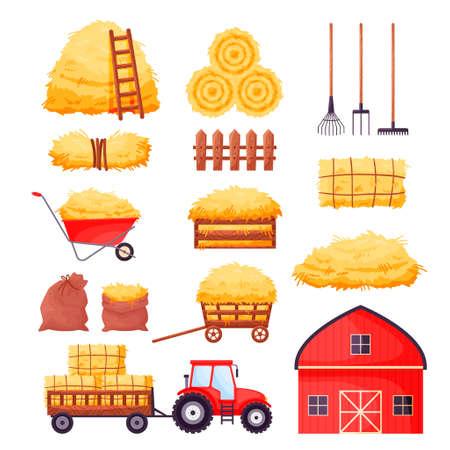 Bale of hay set. Farm barn, tractor, fence, pitchfork, rake, wheelbarrow isolated on white background. Flat dried haystack in wagon and sack, hayloft - cartoon vector illustration